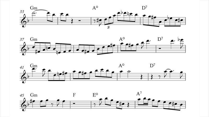 Moanin' - alto saxophone solo transcription