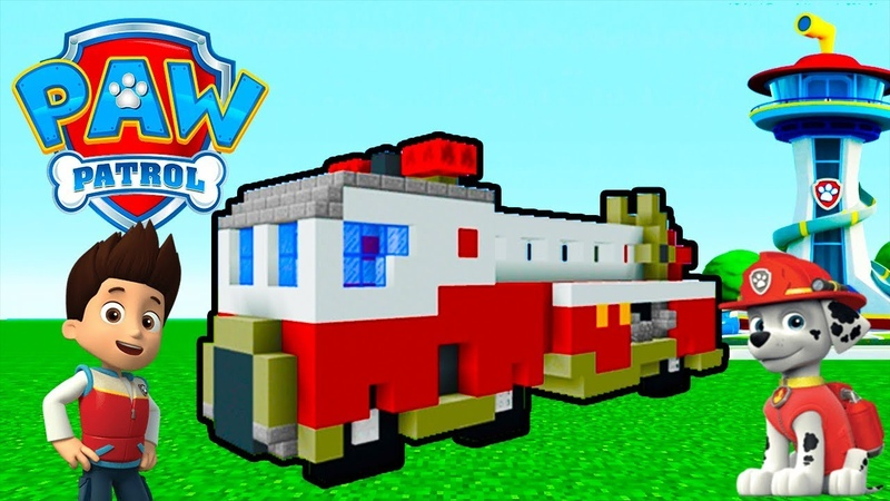 Minecraft Tutorial: How To Make The Ultimate Fire Truck Paw Patrol