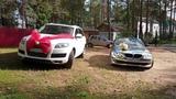 Белый Audi Q7 и кабриолет BMW 3 в свадебных украшениях @auto-na-prokat.ru