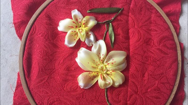 D.I.Y Ribbon Embroidery Orchird Hướng dẫn thêu ruy băng hoa phong lan