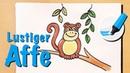 Zeichnen lernen der lustige Affe How to draw a Monkey Cartoon