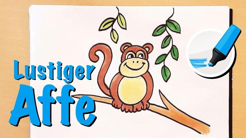 Zeichnen lernen - der lustige Affe! - How to draw a Monkey (Cartoon)