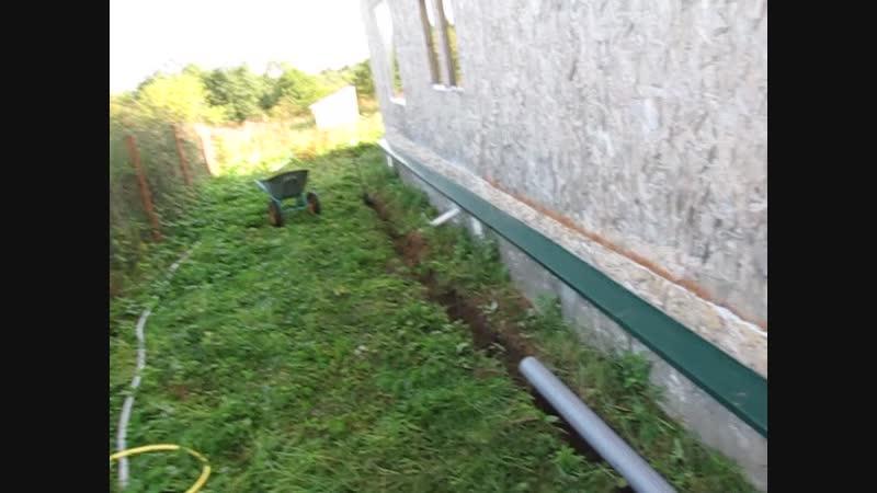 траншея для водопровода и водоотвода