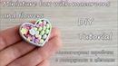 Miniature box with macaroons and flowers clay Коробочка с макарунами и цветами
