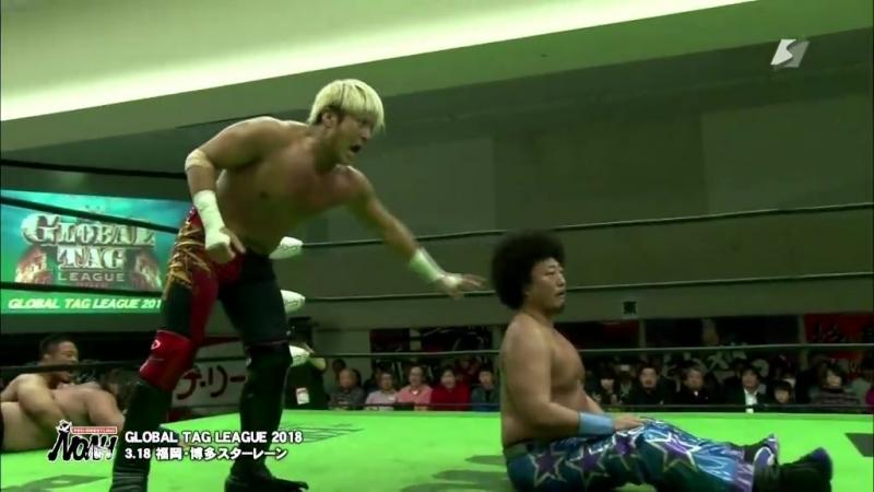 Mohammed Yone, Quiet Storm vs. Kenou, Takashi Sugiura (NOAH - Global Tag League 2018 - Day 1)