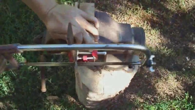 Нож из мехпилы Р6М5 Ворон рукоять из дуба (Клип) Knife from mekhpila HSS Raven h