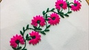 Hand Embroidery borderline embroidery design with lazy daisy stitch