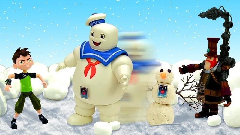 Видео с игрушками – Бен 10 и гигантский снеговик Стима Смита!