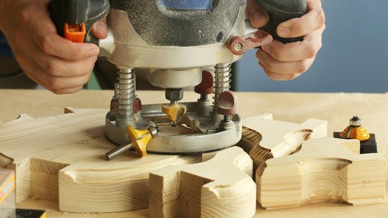 Фрезерование кромки маленьких деревянных ножек для пуфика