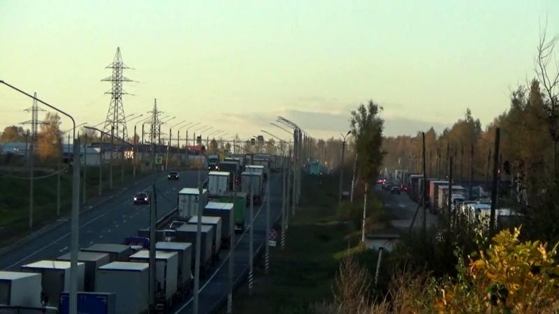 Огромная пробка на трассе М-7 около Вязников 11.10.18