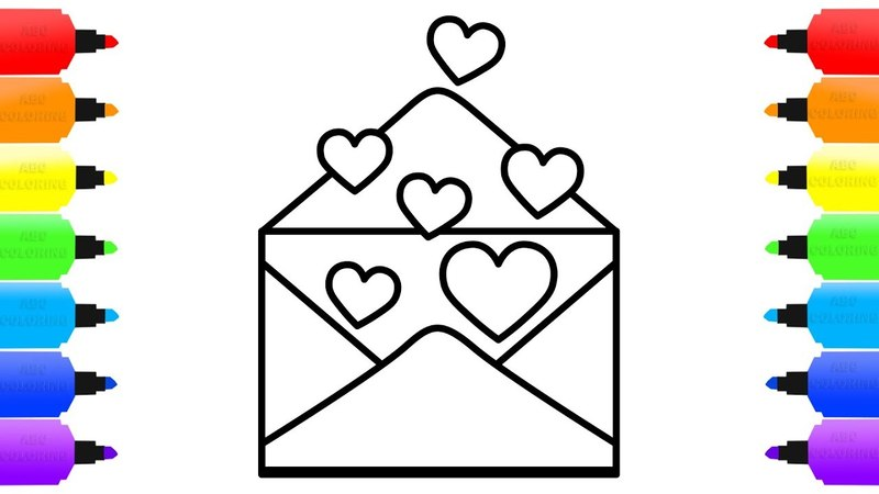 Heart Envelope Coloring Pages for Kids | Learn the Colors | How to Draw Heart Envelope