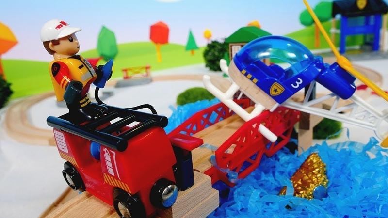 Brio Züge - Der Hubschrauber transportiert Gold - Spielzeugvideo