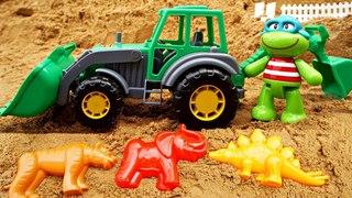 Видео для малышей - Зоопарк в песке - Лепим формочки с Экскаватором