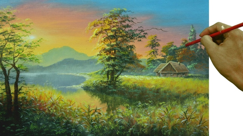 Acrylic Landscape Painting Tutorial Sunset with Barn Beside the Lake by JM Lisondra