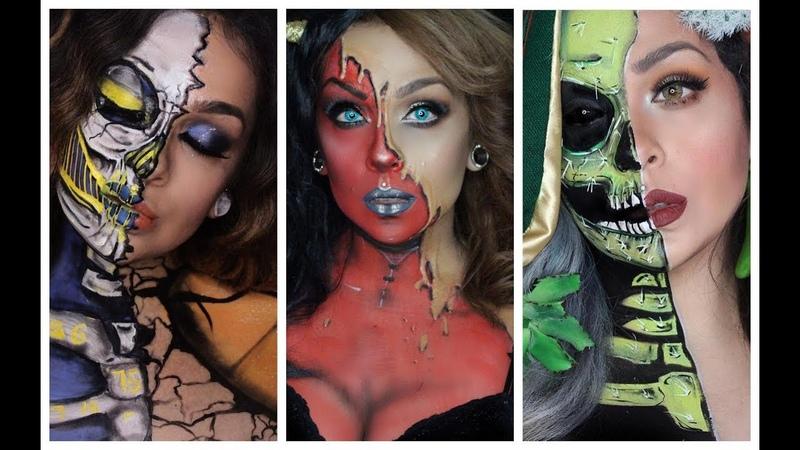 فتاة أمريكية تحول وجهها إلى أشكال هالويين 1