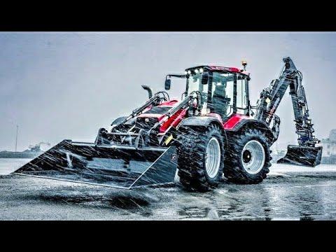 Modern Backhoe Loader Tractors at Work
