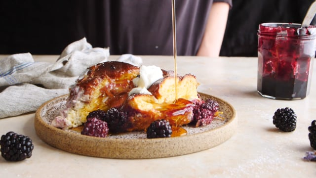 Baked blackberry ricotta french toast