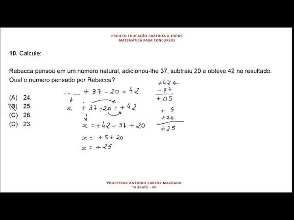 Cálculo Valor Desconhecido Questão 10 Matemática