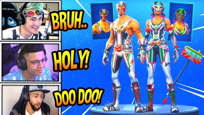 STREAMERS REACT TO *NEW* MASKED FURY DYNAMO SKINS! PILEDRIVER AXE! Fortnite FUNNY Moments