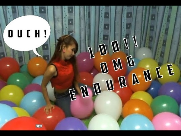 X100 balloons Sit Popped. Endurance Popping.
