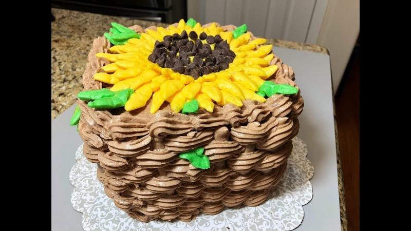 Шоколадный Торт ПОДСОЛНУХ . Как красиво украсить торт непрофессионалу.