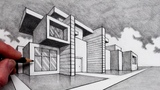 How to Draw in 2-Point Perspective Modern House
