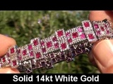 Vintage Estate 15.72 Carat Burma Ruby &amp Diamond Bracelet Heavy Solid 14K White Gold To Be Auctioned