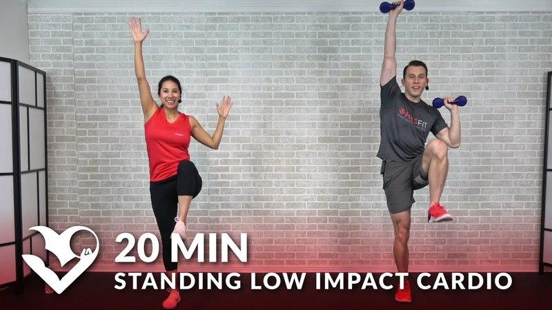 20-минутная низкоударная кардио тренировка без прыжков - 20-минутная тренировка стоя для начинающих. 20 Minute Standing Low Impact Cardio Workout with No Jumping - 20 Min Standing Workout for Beginners