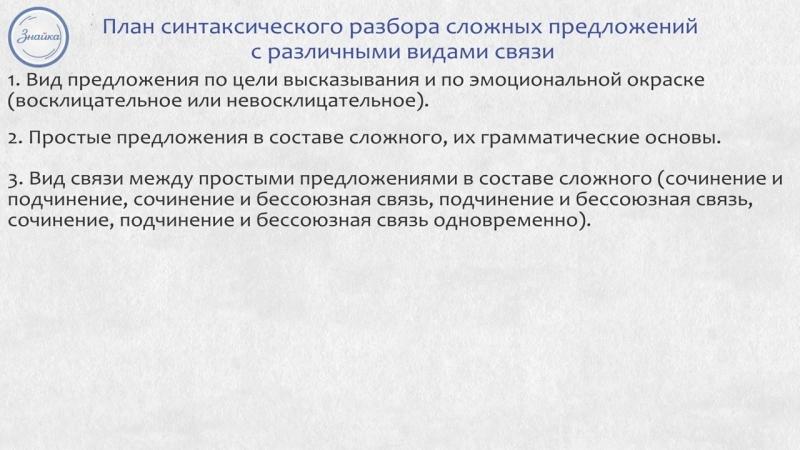 Русский 9 Синтаксический и пунктуационный разбор сложных предложений с различным