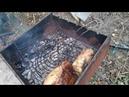 домучивание куска мяса с копчением на грушевой щепе
