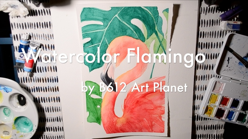 ❤️How to Paint Flamingo with Tropical Leaves Watercolor❤️Draw a Flamingo- Aquarelle 水彩手繪畫火烈鳥 紅鶴