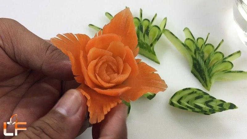How To Make Flower From Carrot Garnish - Carrot Flower Carving Design
