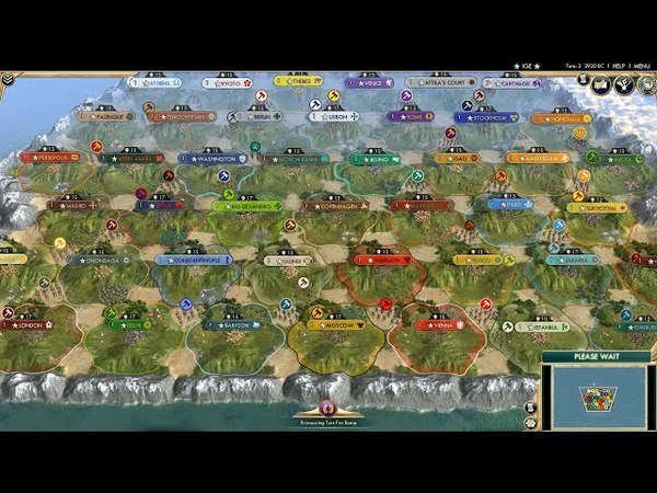 Civ 5 AI Only Timelapse: All (43) Civs on the Small Map