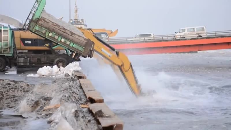 Unusual Japan Snow Removal Mega Machines- Grader, Truck, Loader, Bulldozer, Excavator in the Water