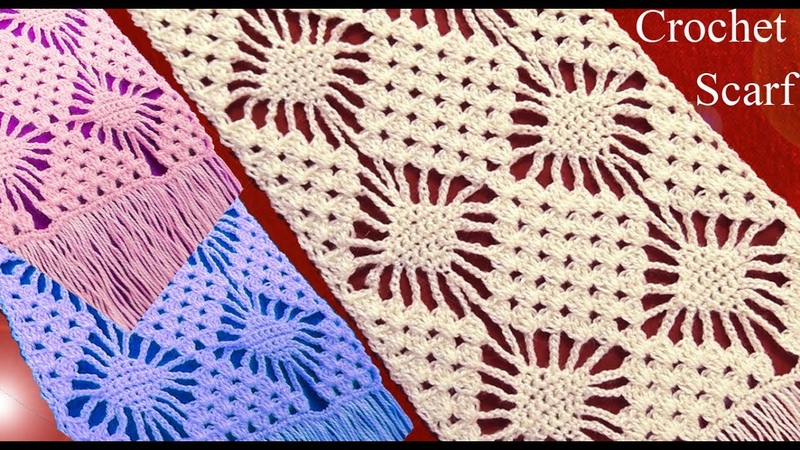 Bufanda o chalina en punto rombos filigranas tejido a Crochet tallermanualperu