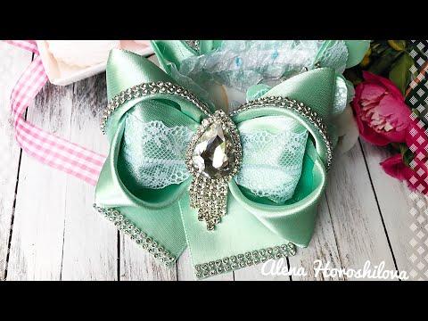 Резинка на гулю с бабочками восьмерка бантик с ушками МК Канзаши Алена Хорошилова tutorial ribbon