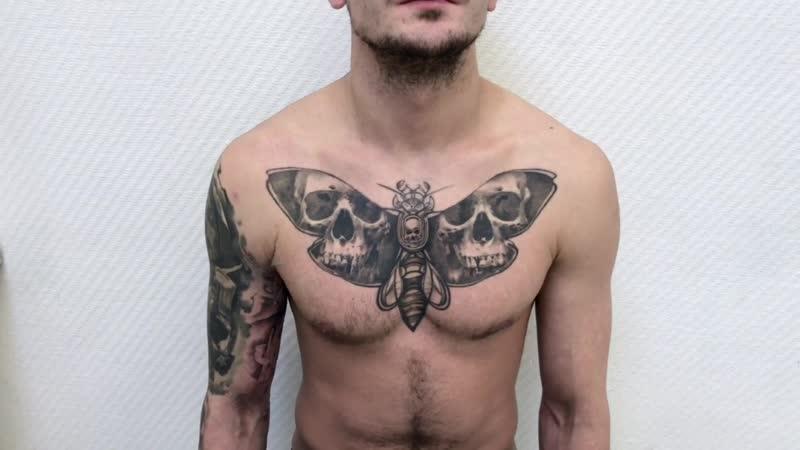 Тату мастер Александр Каспер realistic horror tattoo dead head moth Тату студия Дом Элит Тату Tattoo Studio Moscow