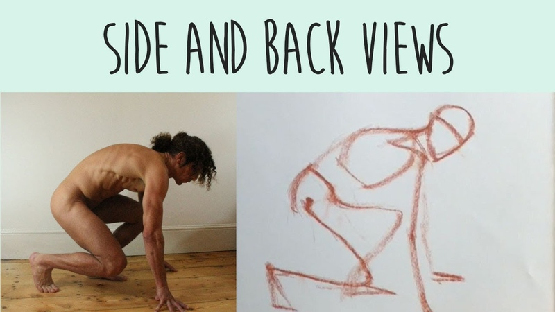 Beginner Figure Drawing 8 of 10 Poses viewed from the SIDE BACK