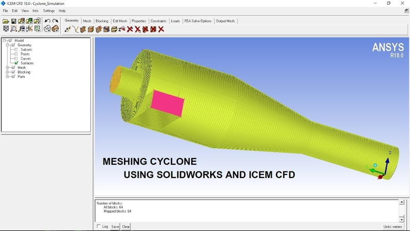 Meshing cyclone using Solidworks and ICEM CFD.