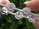 Certified Pink Sapphire Diamond Bracelet Set In Solid 14K White Gold Estate Auction Must Be Sold
