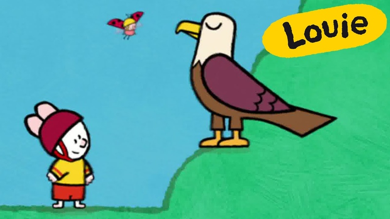 Cartoon for kids - Louie draw me an Eagle HD | Learn to draw