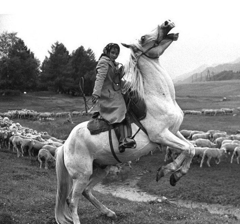 Пастушка на коне, окраина села Онгудай, СССР, 1980 год.