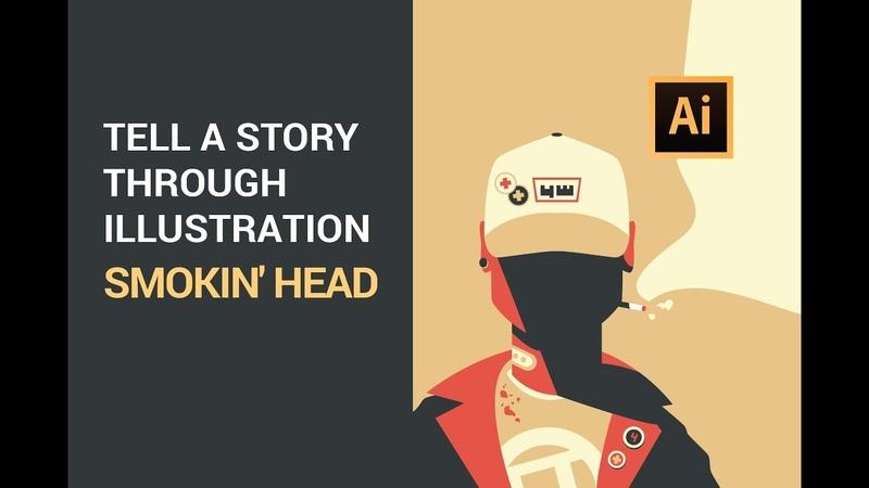Step by step Adobe Illustrator tutorial - Smokin Head 2019