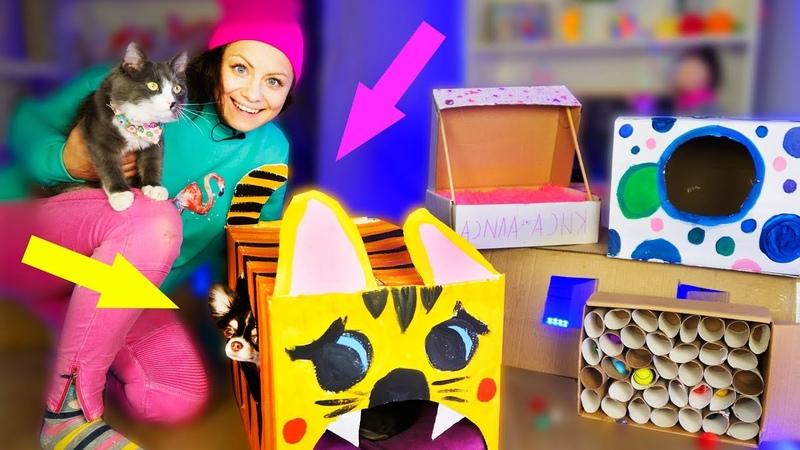 ДОМ для кота и ТОННЕЛЬ из картона! РЕАКЦИЯ КОШКИ на Картонный DIY для питомцев | Magic Family