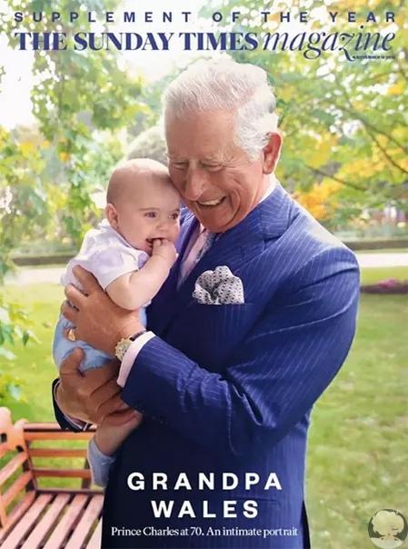 Сегодня вышел спецвыпуск издания The Sunday Times Magazine, обложку которого украсили 70-летний принц Чарльз и его 6-месячный внук, принц Луи.