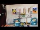 эскиз гостиной акварелью и маркерами the living room sketch watercolor and mark