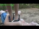 Trampling black heels and nylon feet Chinese girl lesbian slave outdoor