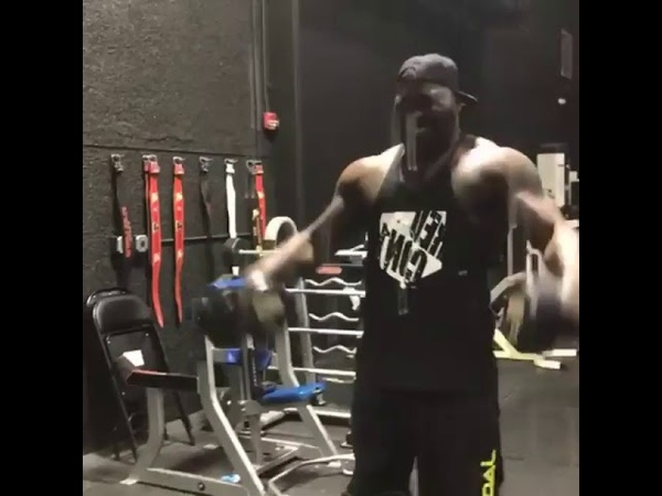Anthony Rumble Johnson lifting weights and he is looking Huge