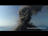 Drone vs lava-bombs - at Krakatau volcano, Indonesia - 4K footage
