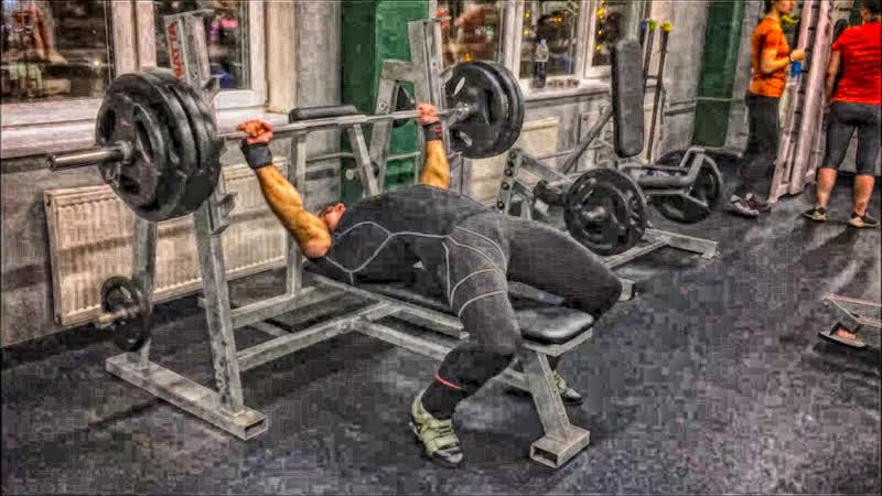 Жим лёжа 150 кг*2 и приседания со штангой 200 кг*2 15.02.2019 года.